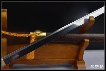 手锻钢素装诸刃唐刀剑|花纹钢|烧刃唐刀