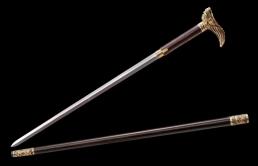 精雕复古龙头手杖剑|花纹钢|花纹钢