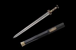 铜柄越王剑花纹钢双大槽 龙泉宝剑 花纹钢
