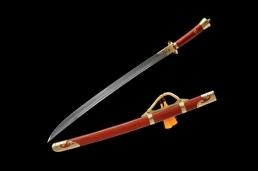 手工包红木花纹钢清刀|中国名刀|花纹钢