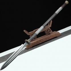 百炼钢黑檀木包鱼皮战矛|十八般兵器|花纹钢|★★★