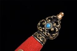 精品羽毛纹烧刃手工研磨木兰剑|龙泉宝剑|羽毛纹百炼钢|★★★★