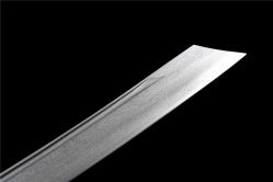 铜装黑檀木手工槽康熙战刀|清刀|花纹钢|★★★★