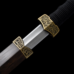 黑檀瓦面汉龙扁柄汉剑|汉剑|花纹钢|★★★
